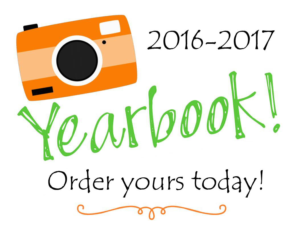 Image of a camera urging students and parents to buy a yearbook