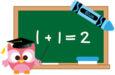 Image of blackboard with an owl in lower left corner, and a crayon in upper right
