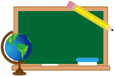 Image of blackboard with a globe in lower left corner, and a pencil in upper right