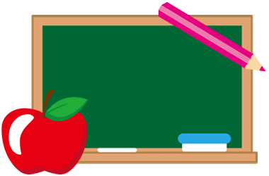 Image of blackboard with an apple in lower left corner, and a colored pencil in upper right